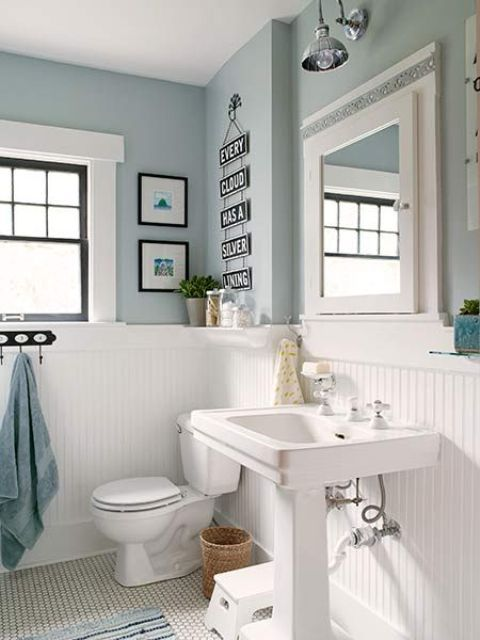 white wood panelling to make light blue bathroom more airy  Home Decor Ideas  Wainscoting