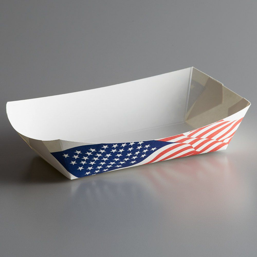 500 5 lb. USA Flag Paper Food Tray 500/Case Food