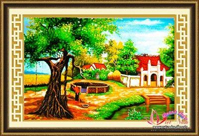 tranh-phong-canh-lang-que-viet-nam-1 | tranh theu chu thap