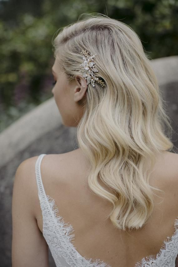 TROUSSEAU  wedding hair comb in gold or silver floral hair   Etsy
