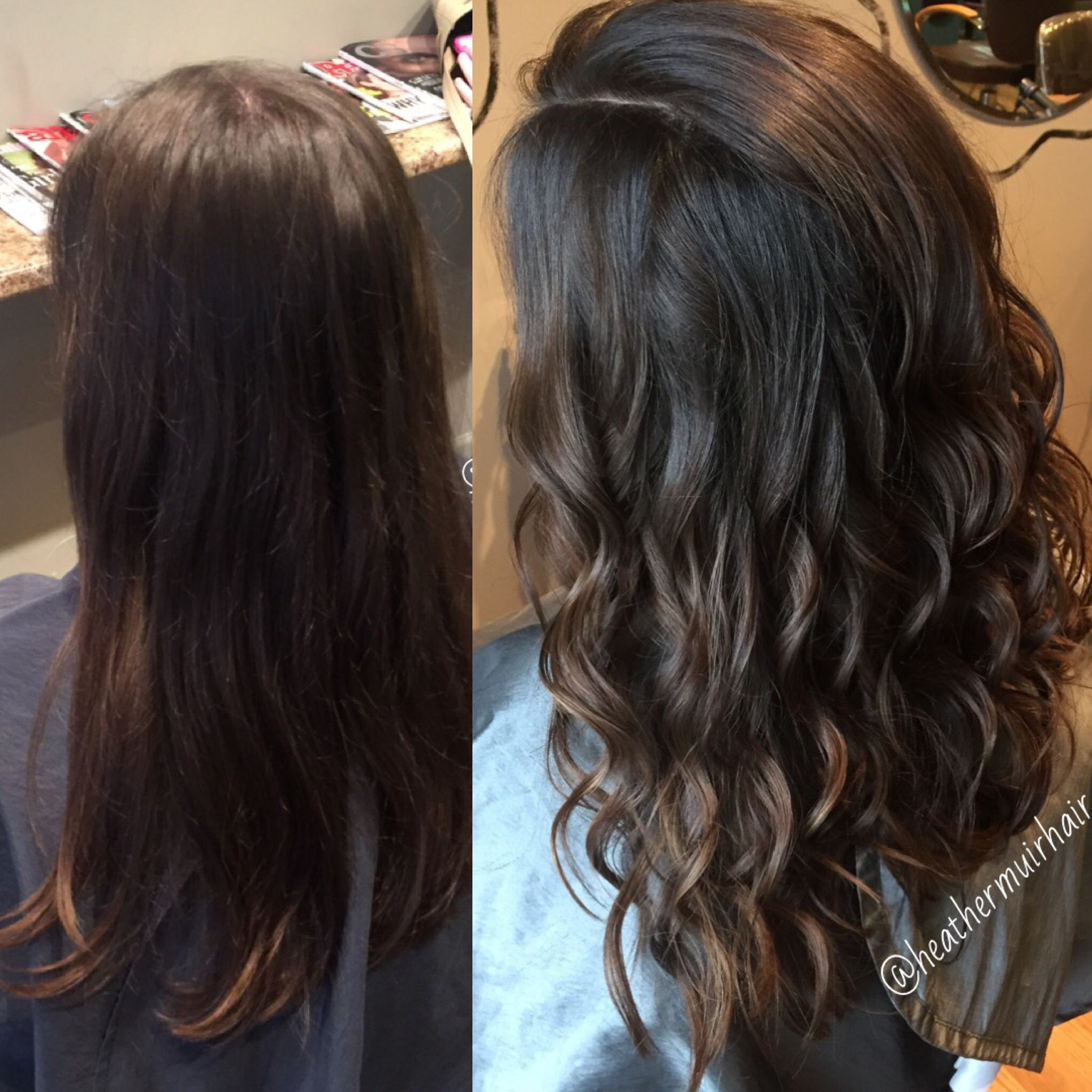 Dark chocolate brown hair color with caramel balayage for fall by ...