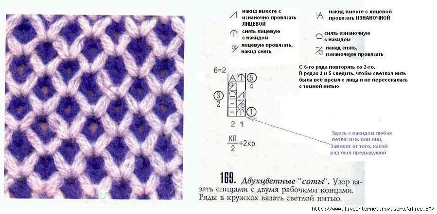 Узоры спицами из двух цветов нити со схемами фото