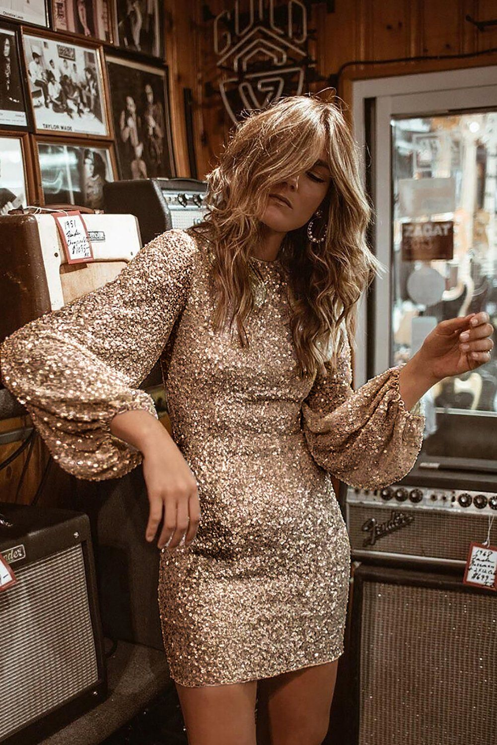 Gold puffy sleeve sequin party mini dress in 2020 sequin