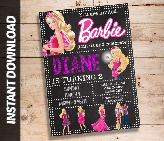Barbie Invitation Editable Invite Barbie Invitation Fiesta