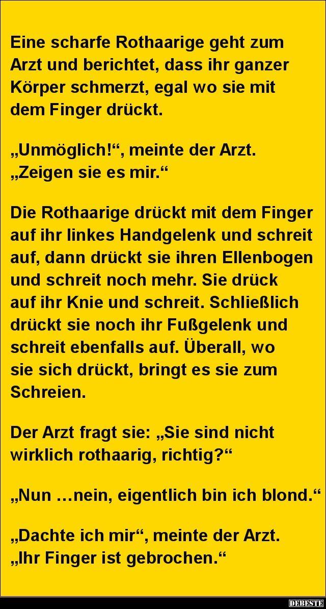 Eine Scharfe Rothaarige Geht Zum Arzt Und Berichtet Lustige Bilder Spruche Witze Echt Lustig In 2020 Blondinen Witz Witze Spruche Witze Lustig