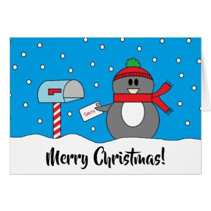 Mailbox Penguin Christmas Card  Holiday Card Diy Personalize