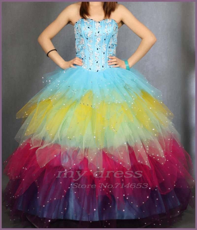 Aliexpress.com : Buy Seven rainbow red Quinceanera Dresses    Fashion  Organza Prom Ball Gown from Reliable quinceanera dresses ball gown suppliers on mydress $256.22
