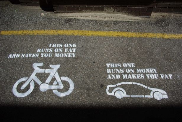 When Streets Tell The Truth About People Riding In Cars And On Bikes Cycling Quotes Street Art Utopia Words