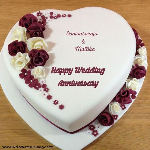 Wife And Husband Name On Heart Shape Anniversary Cake Photo Kue