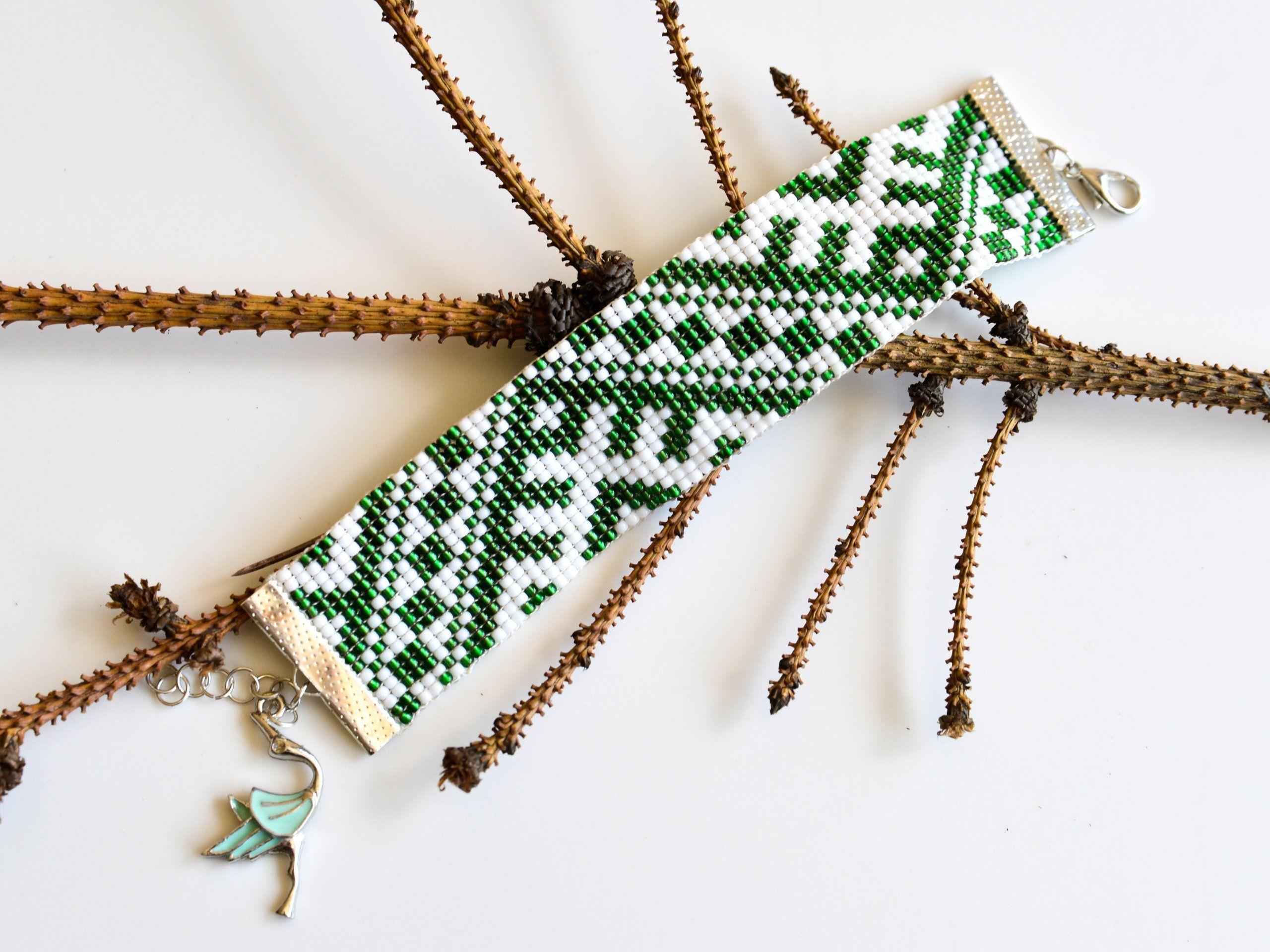 Bransoletka Zielona Biala Boho Etno Prezent 7338889243 Oficjalne Archiwum Allegro Green Bead Embroidered Friendship Bracelet Friendship Bracelets