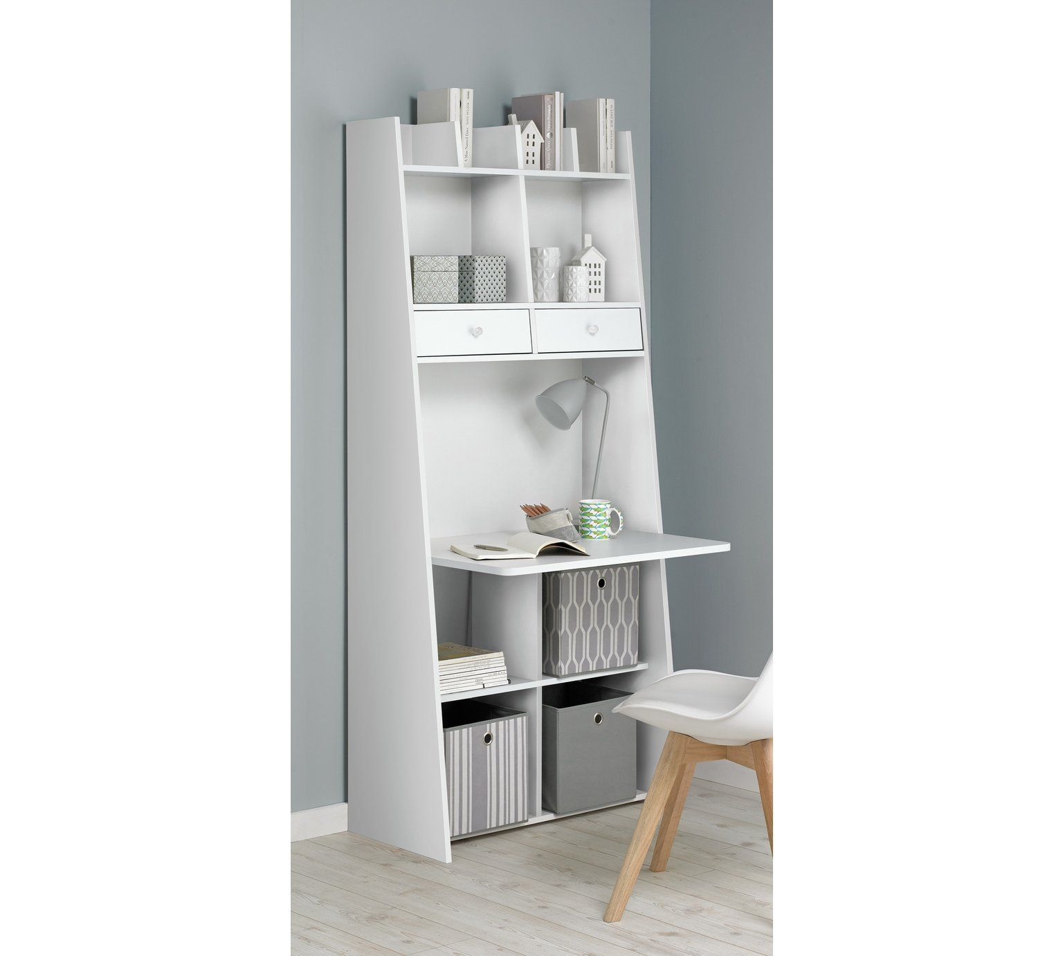Buy Auckland 2 Drawer Wall Unit Desk White at Argos.co