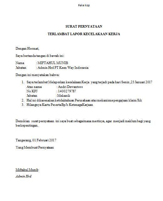 Contoh Surat Keterangan Keterlambatan Untuk Klaim Jkk Kecelakaan Kerja Bpjs Ketenagakerjaan Blog Gado Gado Xyz Surat Kerja Tanda