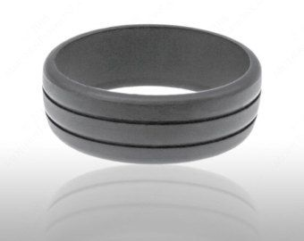 Mens Rubber Silicone Wedding Ring Band Ridged By ModernFashionCo