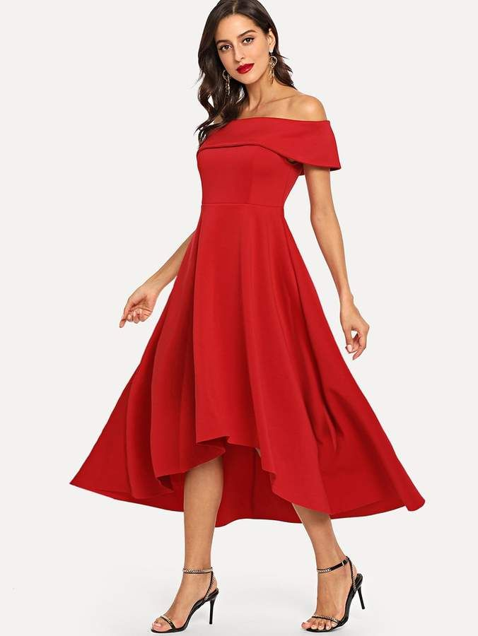 c2de2d1b9304 Bardot SheinShein Fold Shoulder High Low Dress