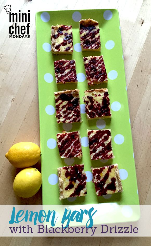 These lemon bars with blackberry drizzle are the perfect sunny treat for spring & summer!