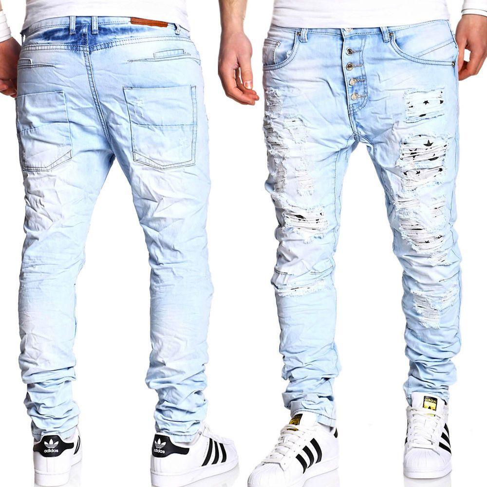 Jogger-Jeans Hose vintage slim fit pantalones deportivos en jeans-Look azul claro//azul Nuevo