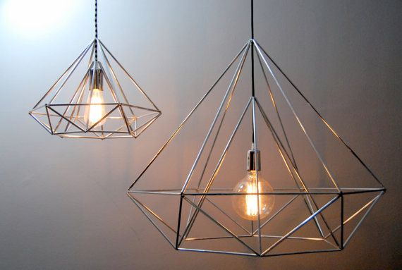 135 etsy diamond himmeli light pendant geometric silver lamp by