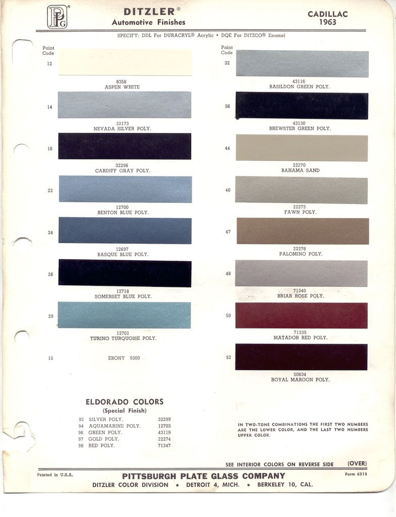 Paint Chips 1963 Cadillac | Ideas for my 66 Cadillac | 1963 chevy