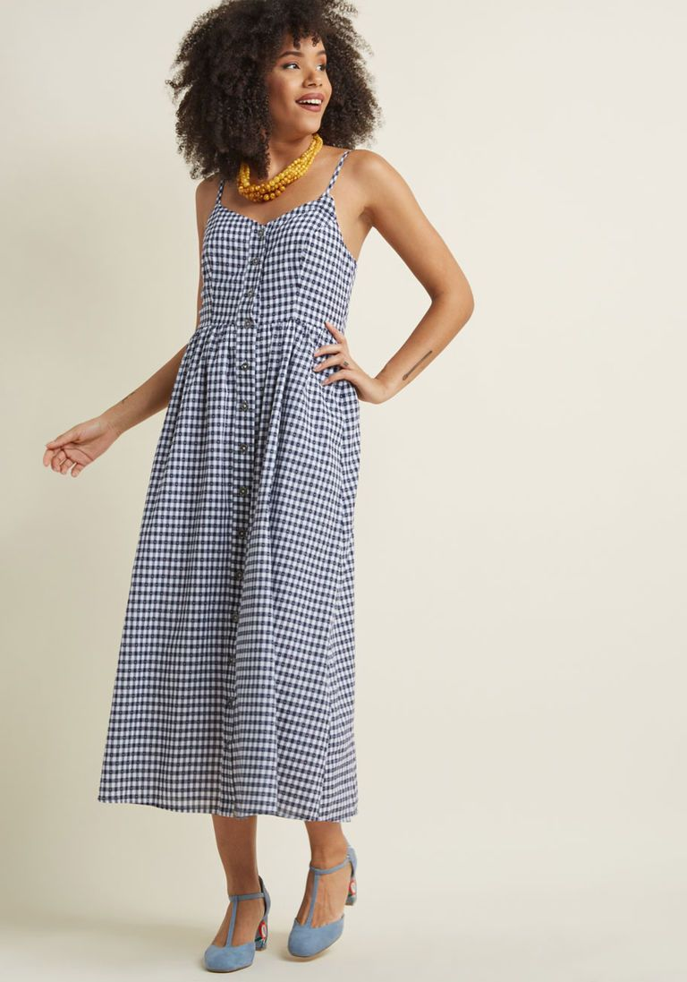 65213b1e0b1 Quite Clearly Charismatic Maxi Dress in Navy Gingham in XL - Spaghetti  A-line by ModCloth