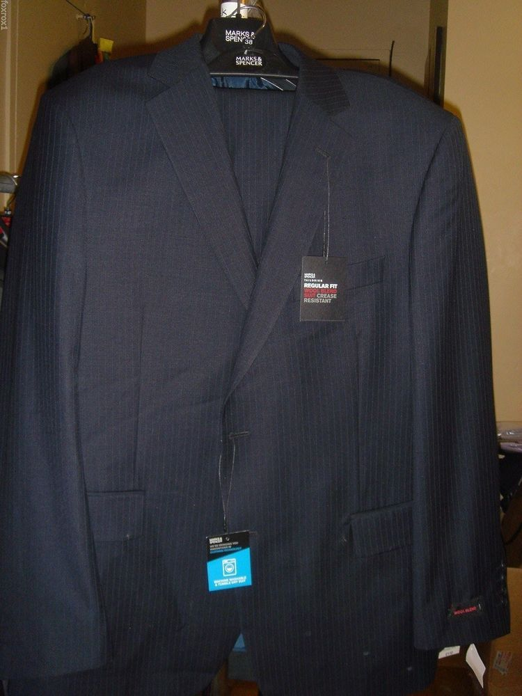 10420aabb346 Marks & Spencer Tailoring Wool Blend Suit Blue Pinstripe Size 44 38 /29 New  Tags #MarksSpencer #TwoButton