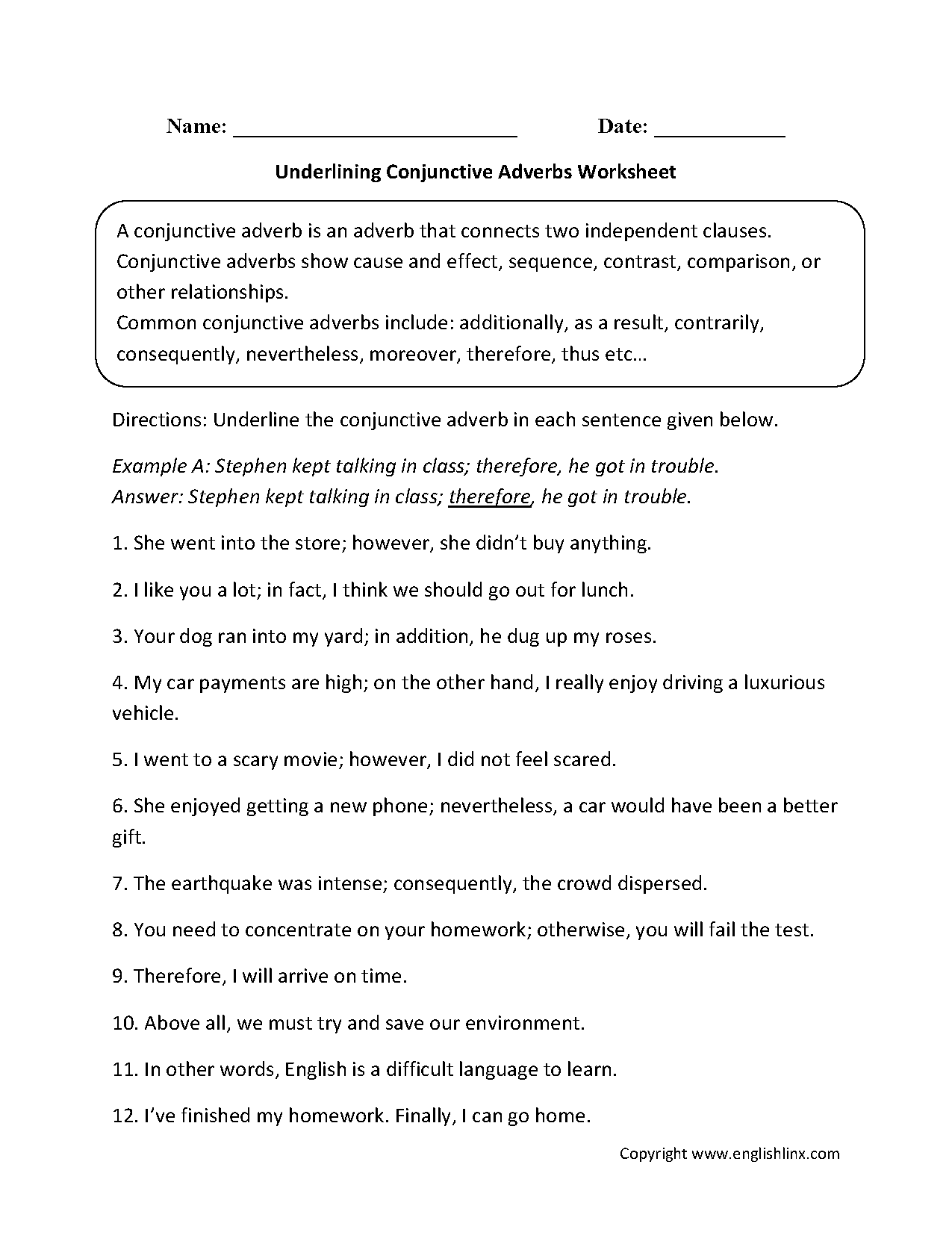 Underlining Conjunctive Adverbs Worksheet