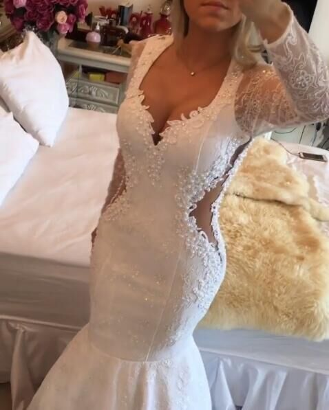 White Long Sleeves Mermaid Unique Lace Long Prom Dresses, PM0075 The