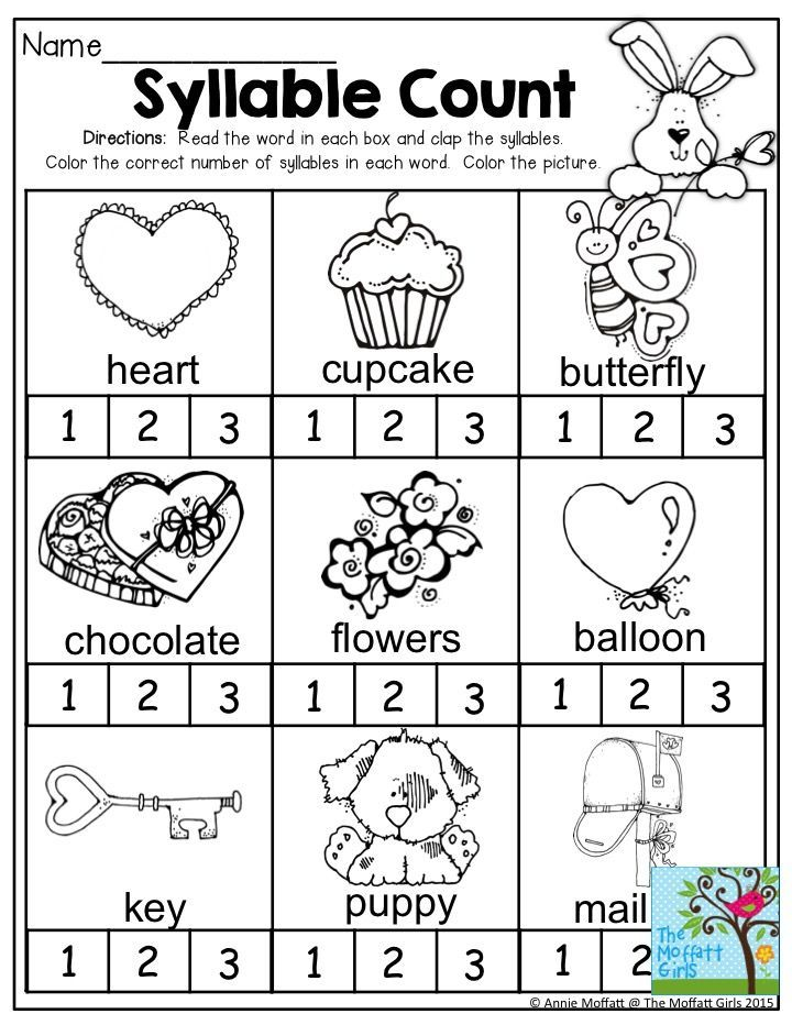 Syllable Count Clap the syllables and color the correct number of – Syllable Worksheets Kindergarten