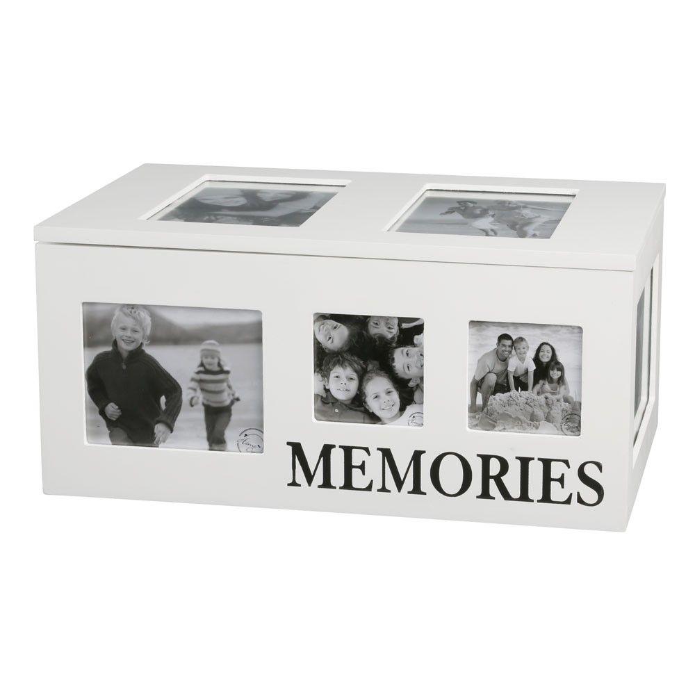 Holzkiste mit Fotorahmen