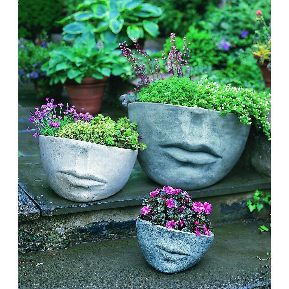 Garden decor kijiji  Kinsey Garden Decor Faccia Face cast Stone Outdoor Planter Set