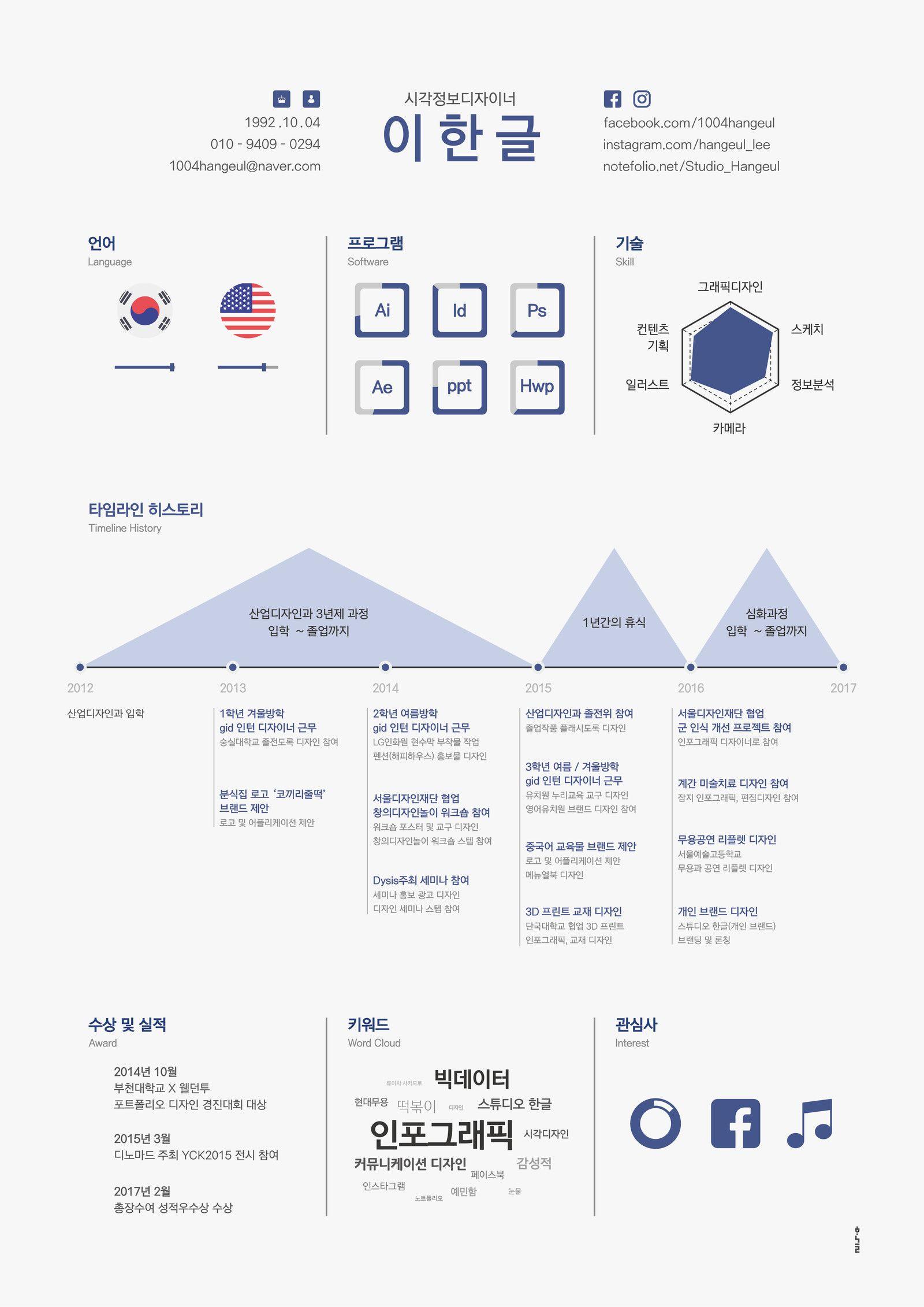 인포그래픽 이력서 디자인 - 그래픽 디자인, 브랜딩/편집