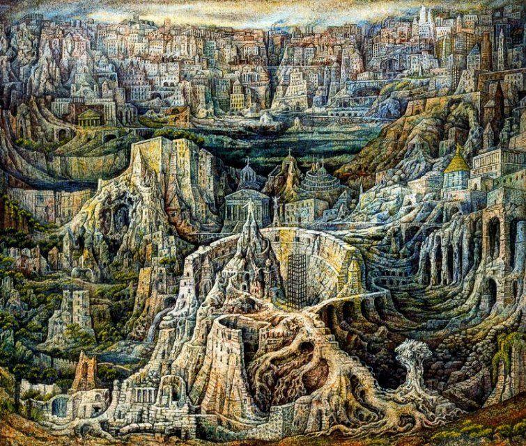 Juan O\'Gorman, \'De unas ruinas nacen otras ruinas\', 1949, témpera al ...