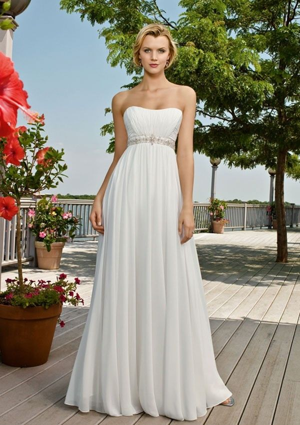 A-line Strapless Sweep/Brush Train Ivory Chiffon Wedding Dress ...