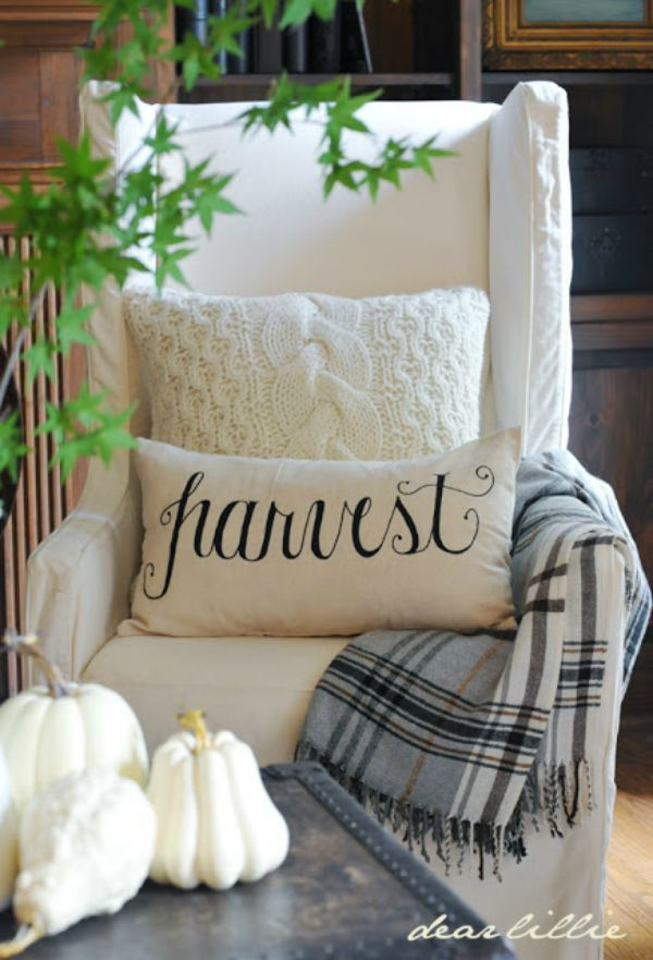 Sweater and Harvest Pillow with a Throw Blanket by Dear Lillie, Fall Decor Inspiration. Stunning homes decorated for Fall. Lots of pictures full of ideas.