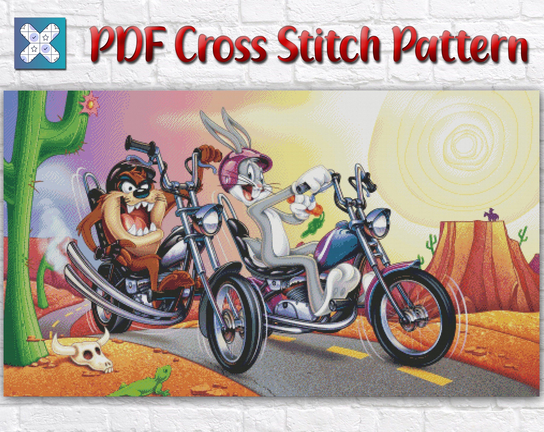 Looney Tunes Cross Stitch Pattern Looney Tunes Cross Stitch Etsy In 2021 Cartoon Taz Bike Art