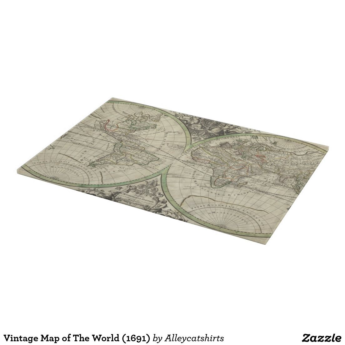 Vintage Map of The World (1691) Cutting Board