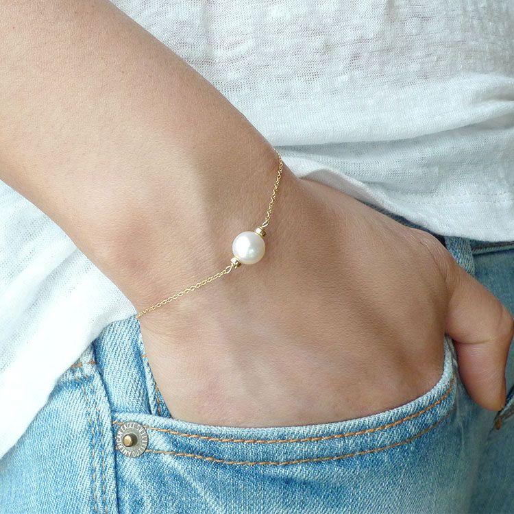 Single White Freshwater Pearl Bracelet / Off White Off Round Freshwater Pearl Bracelet / Pearl Bracelet/ 14k gold filled chain #pearljewelry