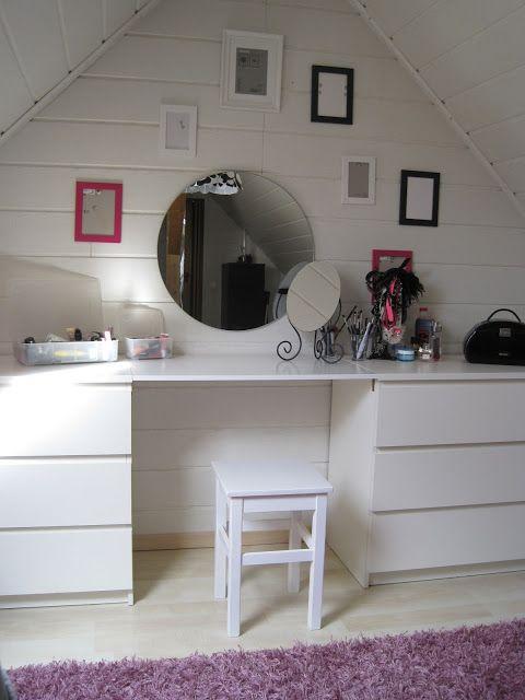 diy schminktisch super zwischen den malm kommoden laksi home bedroom vanity room und. Black Bedroom Furniture Sets. Home Design Ideas