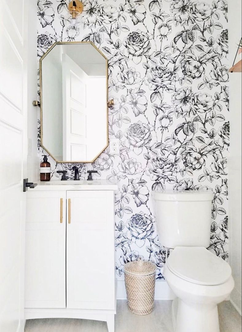 Black And White Floral Wallpaper Powder Room Wallpaper Small Bathroom Wallpaper Bathroom Wallpaper