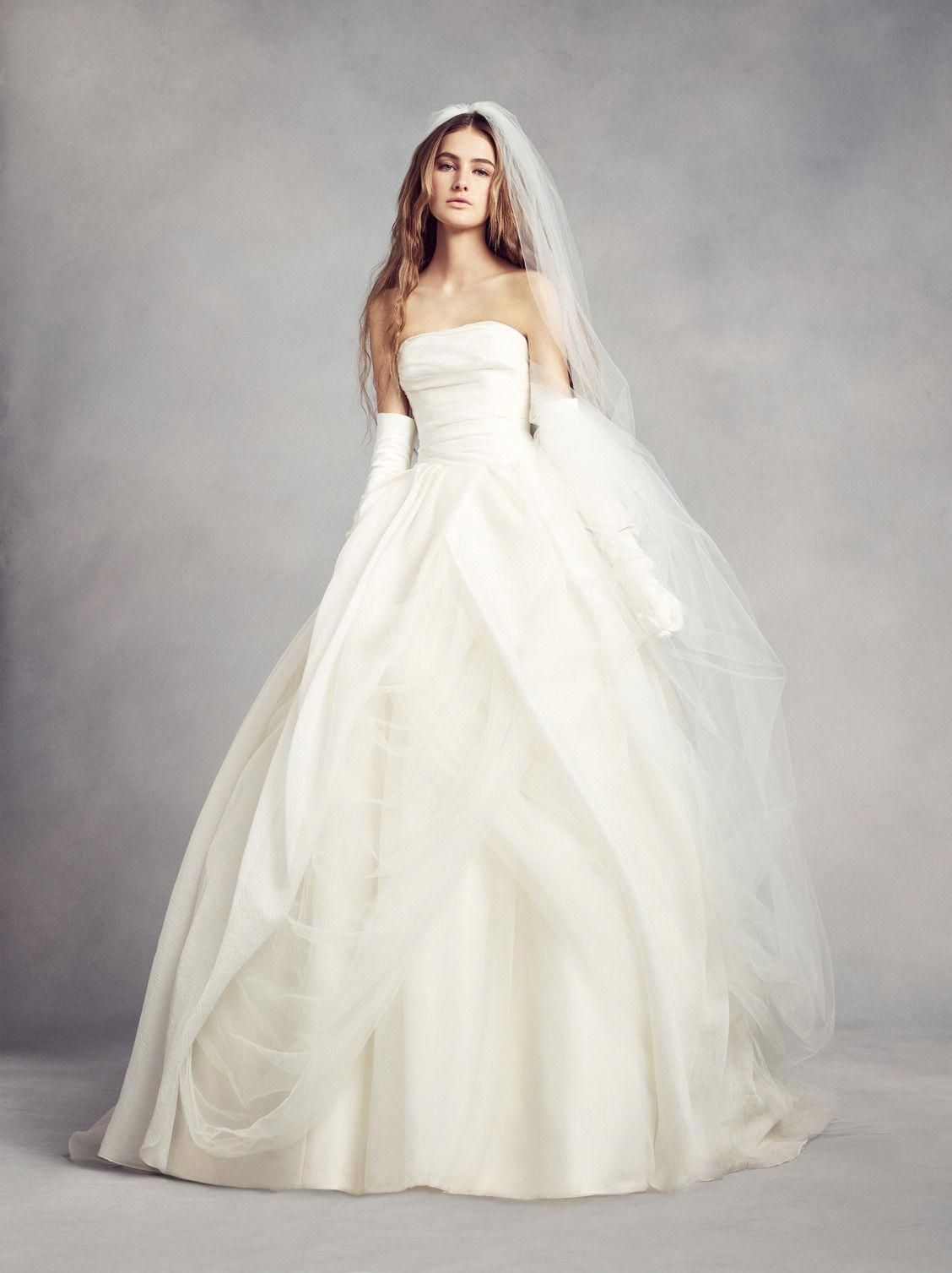 David bridal wedding dress  This magnificent textured organza wedding dress with draped bodice
