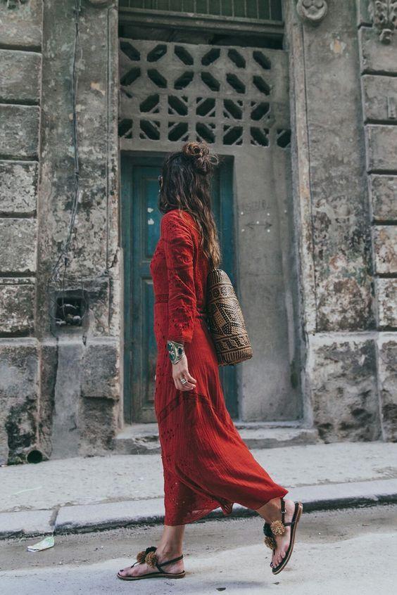 Wie zu Tragen Rot Kleid im Sommer | Stil, Bohemian mode ...