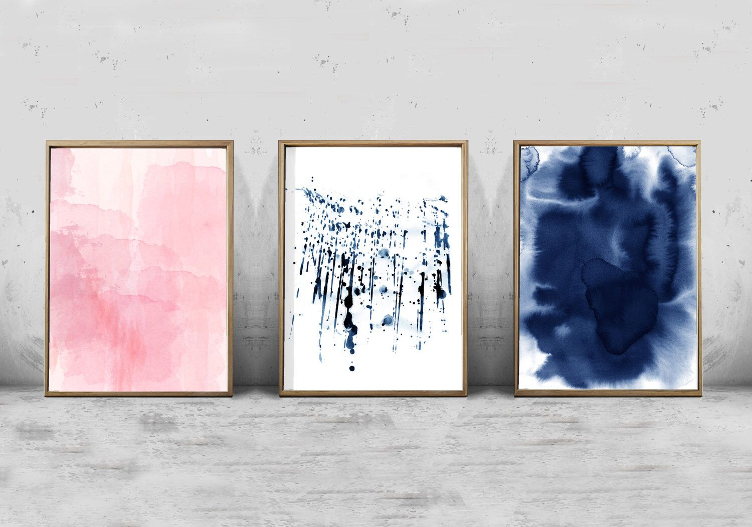 Set of 3 watercolor prints abstract watercolor painting pink indigo blue paint splatter modern art contemporary minimalist large wall art by