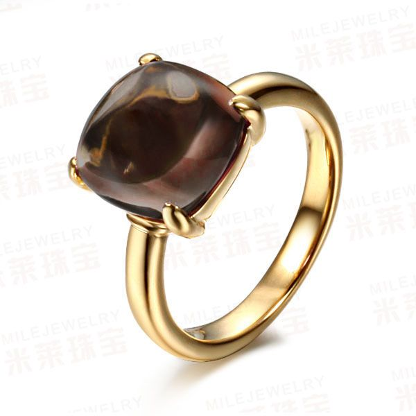 Smoky Quartz Cushion Elegance Ring
