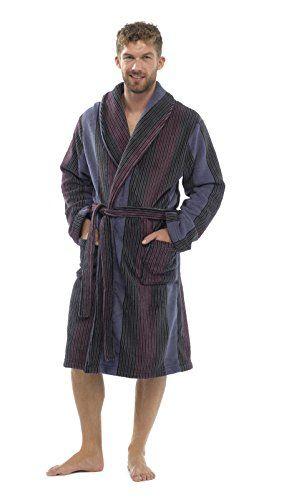 LUXURY MENS GENTS FULL LENGTH VELOUR FLEECE ROBE DRESSING GOWN ...