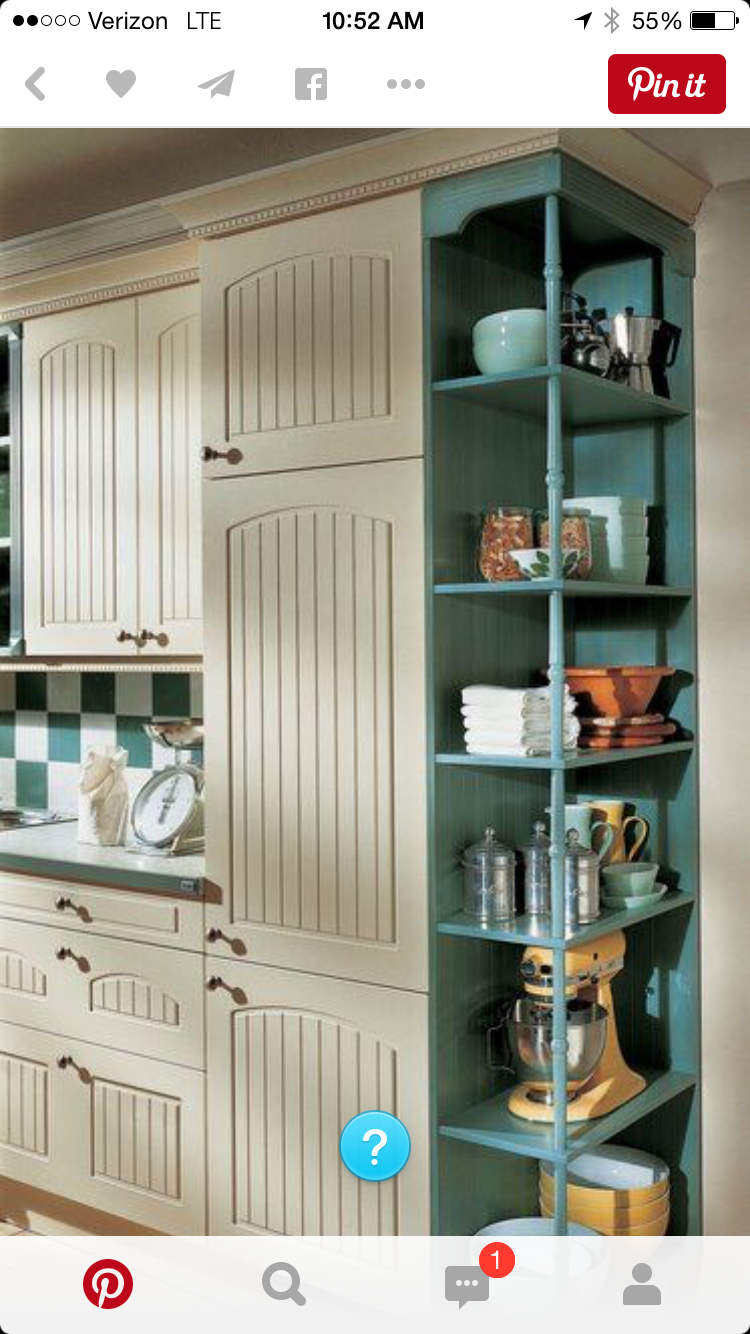 Or would you rather open side of frig shelves for wine for Traditional kitchen shelves