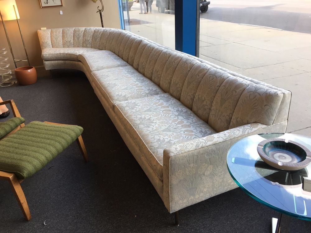15 Ft Long Mid Century Modern 2 Piece Sectional Curved Sofa C1950s