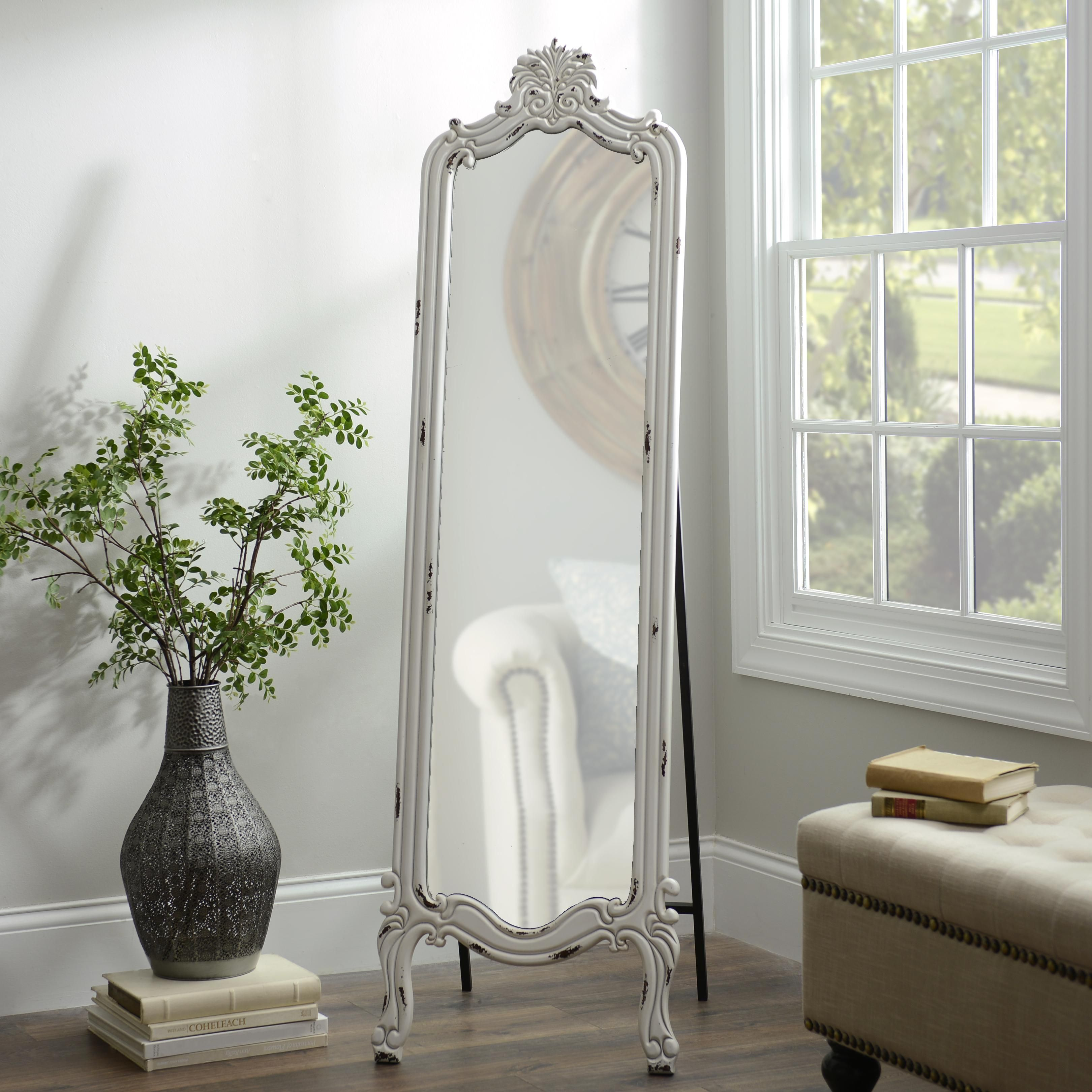 Distressed White Morgan Cheval Mirror in 2020 | Cheval ... on Floor Mirrors Decorative Kirklands id=14845