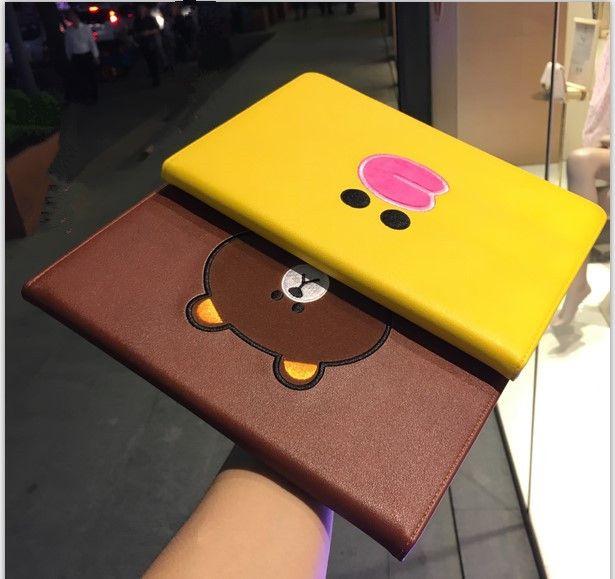 新型ipad air2ケース ミニmini3ブラウン熊クマ韓国可愛いlineシリコンケース6ヒヨコpro12 9インチ タブレット10 5サリー収納カバー雛ひよこ ラインくまキャラクター アイパッド ipadケース ケース