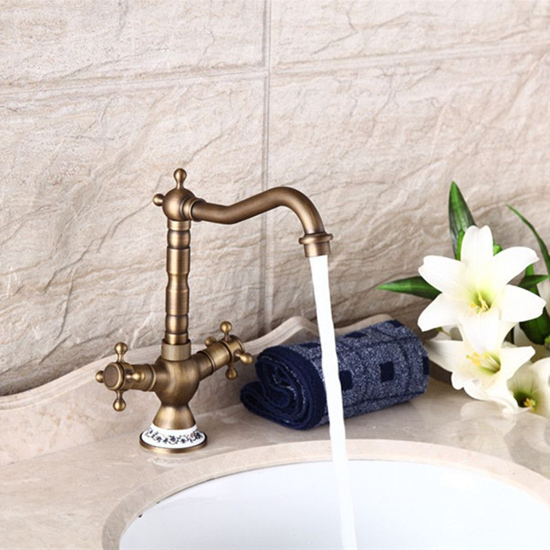 Free shipping 360 rotation antique kitchen faucet of dual handle ...