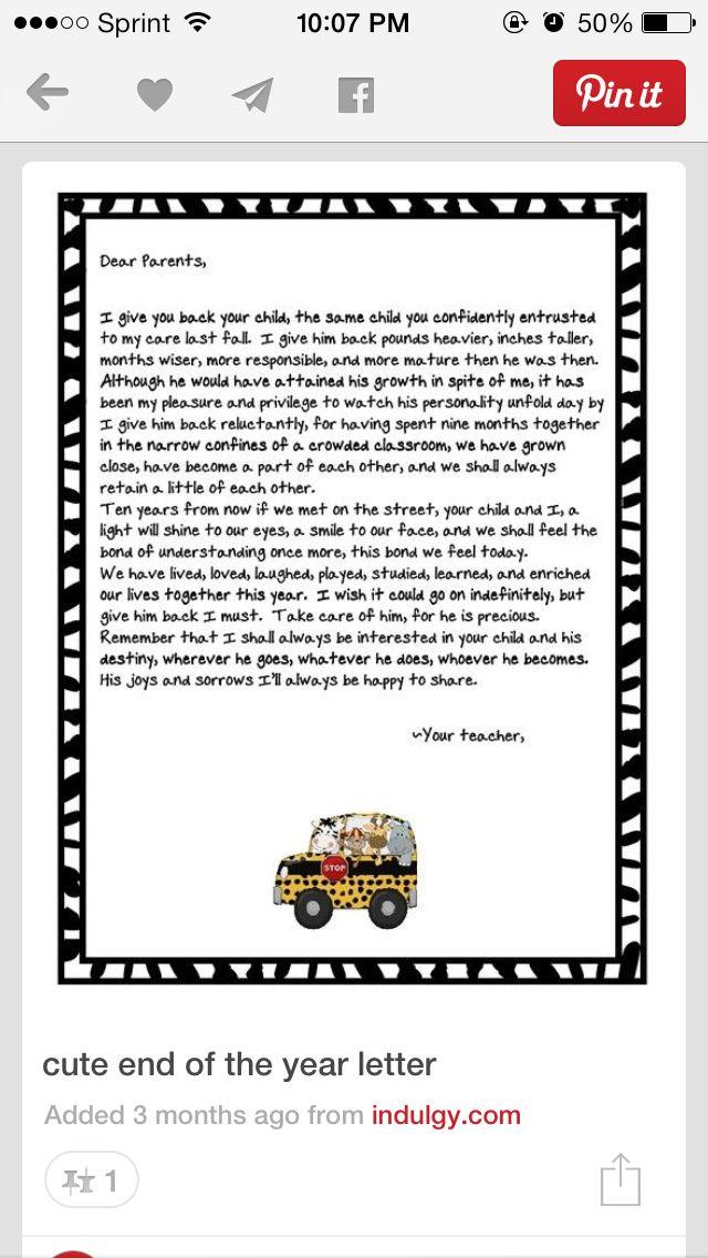 Download End of school letter to parents.   Letter to parents, Dear ...
