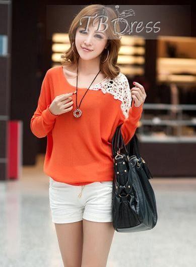 unique loose laciness knit bat sleeve t-shirt tbdress.com-f86990.jpg (389×528)